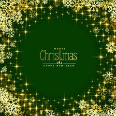 green background with golden snowflakes and sparkles