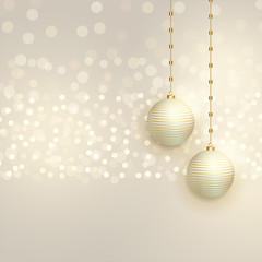 beautiful christmas balls on bokeh background