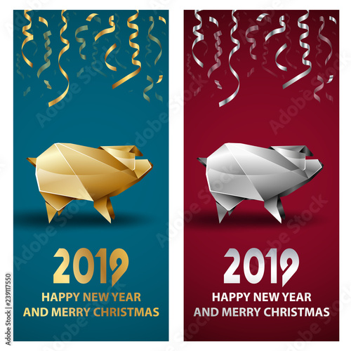 golden and silver pig as a symbol of chinese new year 2019 vector polygonal pig