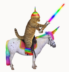 The cat alien in a helmet with horn and color boots with a glowing sword is riding the real unicorn. White background.