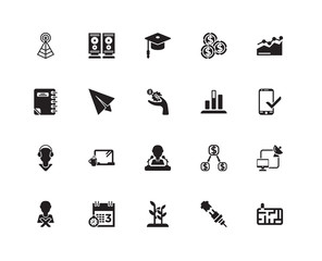 Simple Set of 20 Vector Icon. Contains such Icons as Speakers, Plug, Business Graph, Meeting Date, Bad Employee, Satellite Connection, Flying Origami Airplane. Editable Stroke pixel perfect