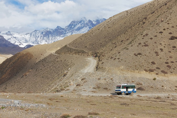 Local bus at Kagbeni city in lower Mustang district, Nepal