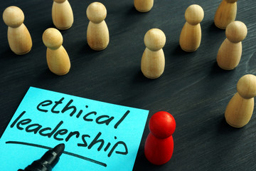 Ethical leadership. Wooden figures on a desk.