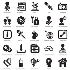 Simple Set of 25 Vector Icon. Contains such Icons as Home, Expand Tool, Project Manager, Meeting Date, Metal Paper Clip, Right Settings, Vintage Eyeglasses, Information. Editable Stroke pixel perfect