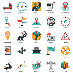 Set Of 25 icons such as Map, Airplane, Route, Compass, Church, Ship, Gps, Search, Road, Compass icon