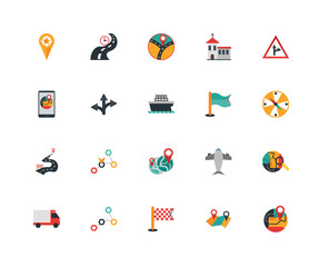 Set Of 20 icons such as Gps, Route, Finish, Delivery truck, Traffic, Flag, Detour, icon pack