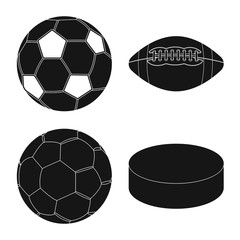Vector illustration of sport and ball sign. Set of sport and athletic stock symbol for web.