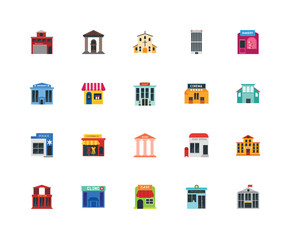 Set Of 20 icons such as Embassy, Pharmacy, Cafe, Clinic, Station, Bakery, Cinema, Bank, Police, Flower, Church, icon pack