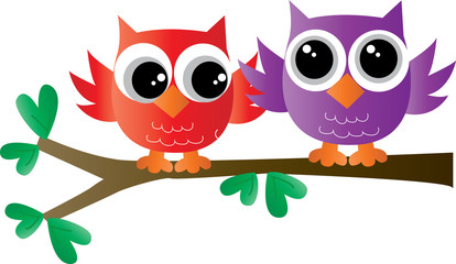 two colorful owls sitting on a branch