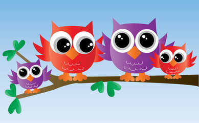 sweet colorful owl family on a branch