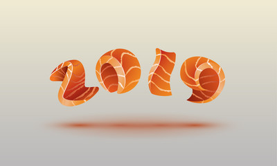Happy New Year 2019 text design. Salmon style numbers for sushi calendar background.
