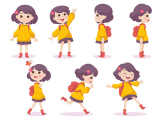 Set of Cute Girl Happy concept Spring season, cartoon character vector in flat design isolated on white background, Character design for Season Story Cartoon.