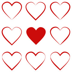 set hearts with calligraphic stroke, symbol of love sign, vector outline heart red, Valentines day holiday
