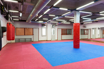 Image of sporty gym for boxing indoors.