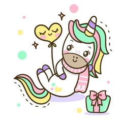 vector of unicorn with cute gift (Happy new year and celebration): on white background. Print for t-shirt or sticker. Romantic hand drawing illustration for children.