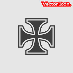 Iron cross icon isolated sign symbol and flat style for app, web and digital design. Vector illustration.
