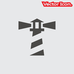 Lighthouse icon isolated sign symbol and flat style for app, web and digital design. Vector illustration.
