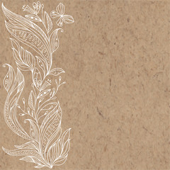 Floral vector background with abstract leaves, flowers and place for text on kraft paper. Invitation, greeting card or an element for your design.