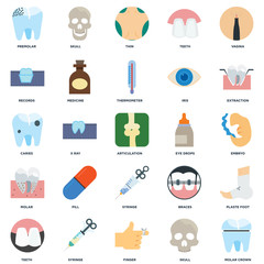 Set Of 25 icons such as Molar crown, Skull, Finger, Syringe, Teeth, Extraction, Eye drops, Molar, Records, Thin, Skull icon