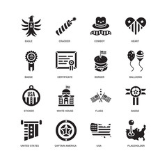 Simple Set of 16 Vector Icon. Contains such Icons as Placeholder, Certificate, Eagle, undefined, Badge, White house, Cracker. Editable Stroke pixel perfect