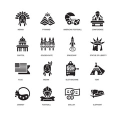 Simple Set of 16 Vector Icon. Contains such Icons as Elephant, Dollar, Football, Donkey, Tent, Indian, Capitol, Flag, Spaceship, undefined, undefined. Editable Stroke pixel perfect