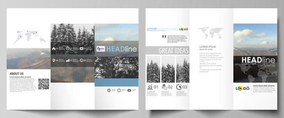 Tri-fold brochure business templates on both sides. Easy editable vector layout in flat design. Abstract landscape of nature. Dark color pattern in vintage style, mosaic texture.