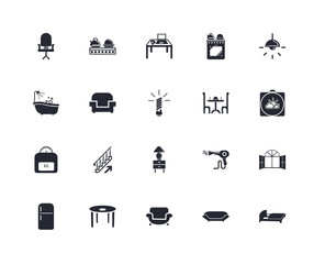 Set Of 20 icons such as Bed, Sofa, Table, Refrigerator, Lamp, Elegant, Furniture, Weight, icon pack
