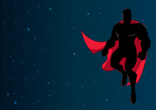 Full length illustration of happy cartoon superhero wearing cape while flying in the outer space.