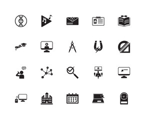 Set Of 20 icons such as Wall clock, Protractor, Book and glasses, ID Card, Monitor computer mouse, Musical note, Conference hall, Graduation Diploma, icon pack