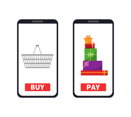 Buy and pay. Phone gadget with empty shopping basket and gifts presents. Concept of online shopping in flat style. Vector flat illustration.