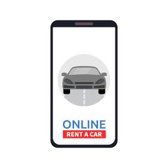 Car sharing service concept online. Carsharing renting car mobile app. Vector illustration.