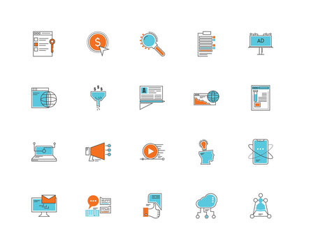 Set Of 20 icons such as Networking, Cloud computing, Social network, Comment, Email, Billboard, Browser, Video player, Laptop, Funnel, Loupe, icon pack