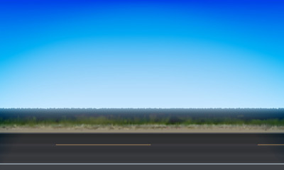 Side view of a road, roadside green meadow and clear blue sky background, vector illustration