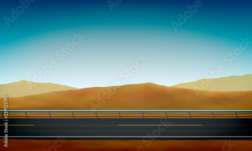 Side View Of A Road With Crash Barrier Roadside Desert Sand Dunes And Clear Blue Sky Background Vector Ilration
