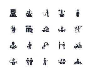 Set Of 20 icons such as Rich, Rich people, Poor, Bodyguard, man, Hotel, Driver, Vip, Golf, icon pack