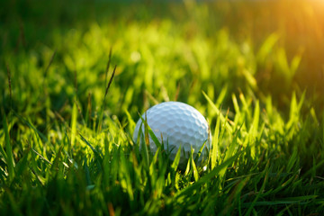golf ball on green grass in beautiful golf course with sunset. Golf ball close up in golf coures at Thailand