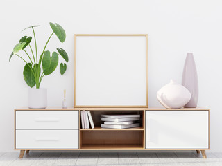 Modern living room interior with a wooden dresser and a square poster mockup, 3D render