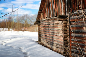 log house wall landscape winter