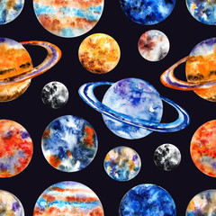Seamless pattern with the planets of the Solar system. Mercury, Venus, Earth, Mars, Jupiter, Saturn, Uranus, Neptune, Pluto. Watercolor illustration