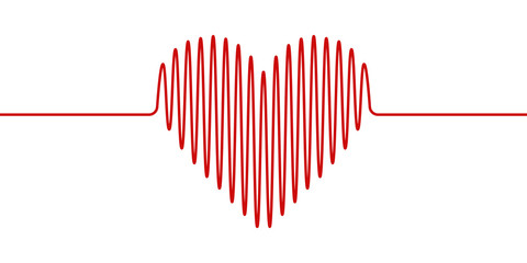 heart shape wavy line, vector heartbeat hand drawn, concept health and healthy lifestyle