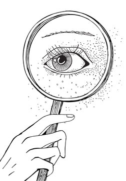 Blackwork tattoo flash. Eye and magnifying glass. Black and white Isolated vector illustration. A4 size. - stock vector.