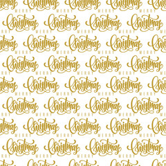 Merry Christmas golden hand lettering seamless pattern background. Template for a business card, banner, poster, notebook, invitation