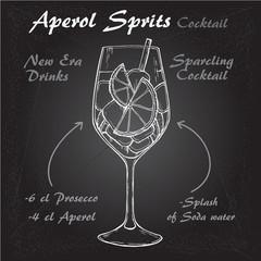 Aperol Sprits Cocktail vector Sketch illustration recipes 1