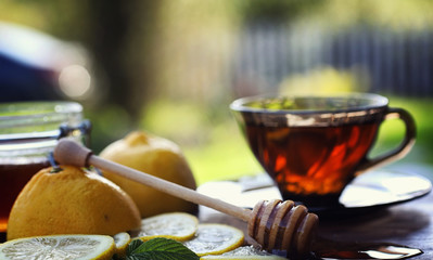 Tea with lemon and mint in nature. A cup of hot mint tea with lemon and honey in a jar. Lemon slices and a spoon with honey to hot tea.