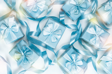 A set of gifts blue color white background A top view of Flat lay Copy space horizontal Selective focus