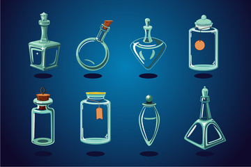 Empty glass bottle, flacon and jar. Vector assets collection. Cartoon illustration.