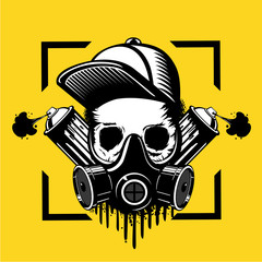 Street art artist. Skull in a protective mask and paint spray can. Tattoo style illustration. Underground culture emblem.