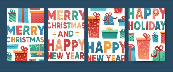 Design greeting card for Merry Christmas. Collection postcard for New Year holiday with gift box  and present pattern. Set simple trendy template xmas invitation.  Happy Holiday illustration. Vector