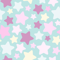 Seamless abstract pattern with cute stars of different pastel colors. Baby blue background. Nice and