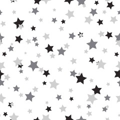 Seamless abstract pattern with little sharp black and grey stars on white background.